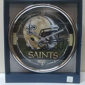 NFL New Orleans Saints Chrome Clock